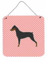 German Pinscher Checkerboard Pink Wall or Door Hanging Prints