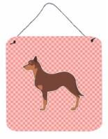 Australian Kelpie Dog Checkerboard Pink Wall or Door Hanging Prints