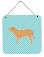 Dogue de Bordeaux Checkerboard Blue Wall or Door Hanging Prints
