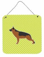 German Shepherd Checkerboard Green Wall or Door Hanging Prints