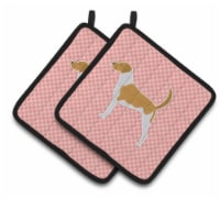 American Foxhound Checkerboard Pink Pair of Pot Holders