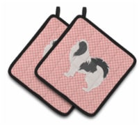 Japanese Chin Checkerboard Pink Pair of Pot Holders