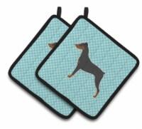 German Pinscher Checkerboard Blue Pair of Pot Holders - Standard