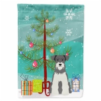 Merry Christmas Tree Miniature Schanuzer Salt and Pepper Flag Canvas House Size