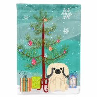 Merry Christmas Tree Pekingnese Cream Flag Canvas House Size