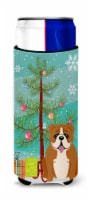 Merry Christmas Tree English Bulldog Red White Michelob Ultra Hugger for slim ca - Slim Can