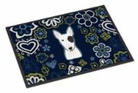 Blue Flowers Bull Terrier Indoor or Outdoor Mat 18x27