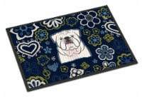 Blue Flowers White English Bulldog  Indoor or Outdoor Mat 18x27