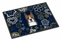 Carolines Treasures  BB5074MAT Blue Flowers Boxer Indoor or Outdoor Mat 18x27
