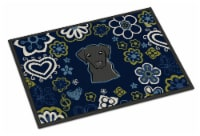 Blue Flowers Black Labrador Indoor or Outdoor Mat 18x27 - 18Hx27W