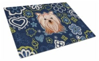 Blue Flowers Yorkie Yorkishire Terrier Glass Cutting Board Large