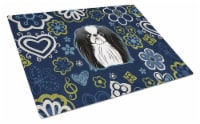 Blue Flowers Japanese Chin Glass Cutting Board Large