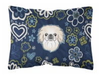 Blue Flowers Pekingese Canvas Fabric Decorative Pillow