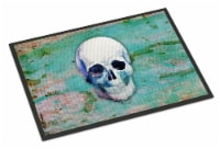 Day of the Dead Teal Skull Indoor or Outdoor Mat 18x27