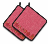Carolines Treasures  BB5133PTHD Fruits and Vegetables in Red Pair of Pot Holders