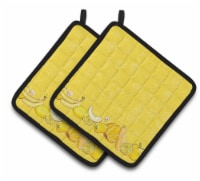 Fruits and Vegetables in Yellow Pair of Pot Holders
