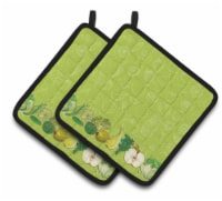 Fruits and Vegetables in Green Pair of Pot Holders