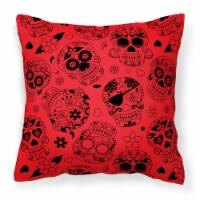 Day of the Dead Orange Fabric Decorative Pillow