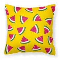 Carolines Treasures  BB5144PW1414 Watermelon on Yellow Fabric Decorative Pillow