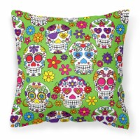 Carolines Treasures  BB5117PW1818 Day of the Dead Green Fabric Decorative Pillow - 18Hx18W