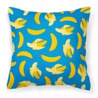 Carolines Treasures  BB5149PW1818 Bananas on Blue Fabric Decorative Pillow