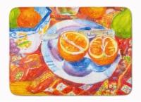 "Florida Oranges Sliced for breakfast Machine Washable Memory Foam Mat - 19 X 27"""