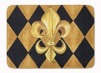 Black and Gold Fleur de lis New Orleans Machine Washable Memory Foam Mat