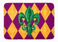 "Mardi Gras Fleur de lis Purple Green and Gold Machine Washable Memory Foam Mat - 19 X 27"""