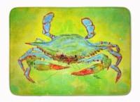 "Bright Green Blue Crab Machine Washable Memory Foam Mat - 19 X 27"""
