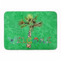 "Welcome Palm Tree on Green Machine Washable Memory Foam Mat - 19 X 27"""