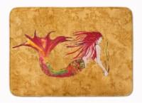 "Ginger Red Headed Mermaid on Gold Machine Washable Memory Foam Mat - 19 X 27"""