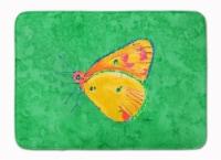 "Butterfly Orange on Green Machine Washable Memory Foam Mat - 19 X 27"""