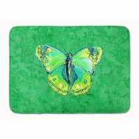 "Butterfly Green on Green Machine Washable Memory Foam Mat - 19 X 27"""
