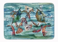 Crabs, Shrimp and Oysters in Water Machine Washable Memory Foam Mat