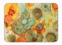 """Abstract Flowers Teal and Orange Machine Washable Memory Foam Mat - 19 X 27"""""""