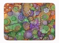 "Abstract in Purple Green and Orange Machine Washable Memory Foam Mat - 19 X 27"""