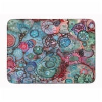 """Abstract in Reds and Blues Machine Washable Memory Foam Mat - 19 X 27"""""""
