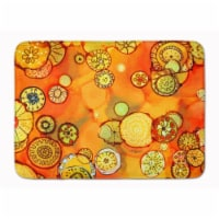 """Abstract Flowers in Oranges and Yellows Machine Washable Memory Foam Mat - 19 X 27"""""""