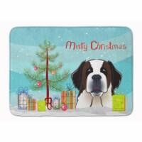 "Christmas Tree and Saint Bernard Machine Washable Memory Foam Mat - 19 X 27"""