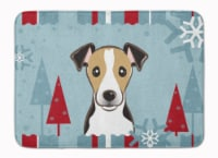 Winter Holiday Jack Russell Terrier Machine Washable Memory Foam Mat
