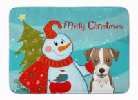 Snowman with Jack Russell Terrier Machine Washable Memory Foam Mat