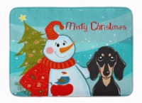 """Snowman with Smooth Black and Tan Dachshund Machine Washable Memory Foam Mat - 19 X 27"""""""