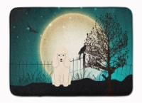 Halloween Scary Poodle White Machine Washable Memory Foam Mat