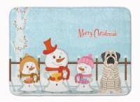 Merry Christmas Carolers Mastiff Brindle White Machine Washable Memory Foam Mat
