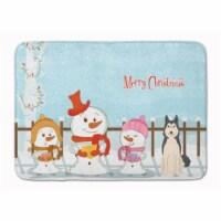 "Merry Christmas Carolers West Siberian Laika Spitz Machine Washable Memory Foam - 19 X 27"""