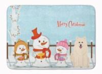 Merry Christmas Carolers Samoyed Machine Washable Memory Foam Mat