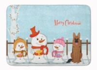 "Merry Christmas Carolers German Shepherd Machine Washable Memory Foam Mat - 19 X 27"""