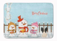 Merry Christmas Carolers Papillon Black White Machine Washable Memory Foam Mat