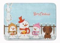 Merry Christmas Carolers Dachshund Red Brown Machine Washable Memory Foam Mat