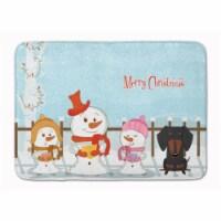 "Merry Christmas Carolers Dachshund Black Tan Machine Washable Memory Foam Mat - 19 X 27"""
